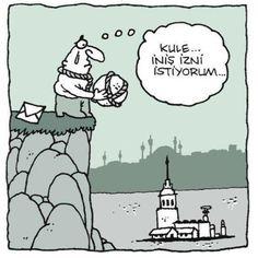 Kule... İniş izni istiyorum...  #karikatür #mizah #matrak #komik #espri