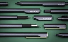 Pen pencil and fountain pen range designed by john Tree Pen Design, Tool Design, Design Web, 3d Models, Mechanical Pencils, Flyer, Pen And Paper, Writing Instruments, Drawing Tools