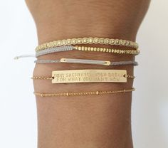 Personalized Gold Bar Bracelet <3