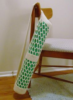 Crochet Yoga Mat Tote ~ pattern available {great little tote to carry architectural blueprints as well}