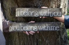 I belong with you Recycled Wood Sign Engagement or Wedding Photo Prop FREE SHIPPING. $45.00, via Etsy. cute idea for bride and groom