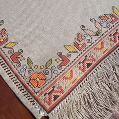 Hand embroidered table runner cross-stitch table by RugsNBags