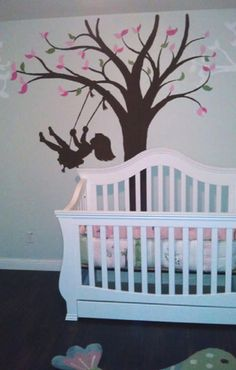 Love the little girl on the swing, so playful! Brings life to a little girl's room!