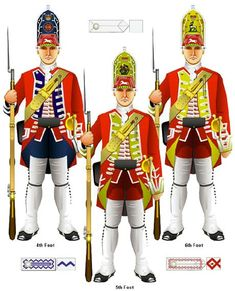 Barrell's 4th King's Own Royal Regiment with the 5th and 6th Foot (from Tim Reese's CD Rom of 20 illustrations of British Regiments as recorded by the PAINTER David Morier.