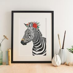 A beautiful gicle art print, featuring a hand illustrated Zebra adorned with a colourful flower crown. Originally hand illustrated with pen, ink and watercolour, this print is part of the Safari Anim. Creative Photography, Product Photography, Art Photography, Cotton Texture, Safari Animals, Hand Illustration, Wildlife Art, Pet Portraits, Colorful Flowers