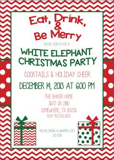 free printable holiday white elephant invitation templates | white, Party invitations