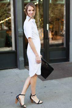 Shirt Hem Dress - Crisp White / Emerson Portfolio Cross Body Bag - Croc