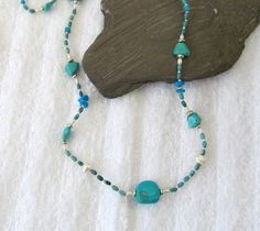 Traditionally the birthstone for December, how about for a friend! Long Turquoise Bead With Heart Clasp Necklace by #BranchPondJewelry
