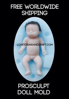 Кукла плесень, Полимерная кукла плесень, Клей кукла, Как сделать свою собственную окуляр куклу. Купить у lovetobakeandcraft.com