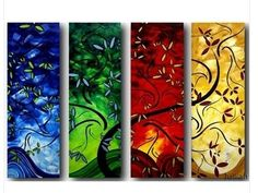 hand painted 4 panel set abstract wall art home decoration tree oil painting on canvas Thanksgiving Day christmas gifts-in Painting & Calligraphy from Home & Garden on Aliexpress.com