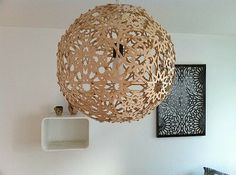 DIY Moroccan Pendant Light - made out of recycled cardboard & metal brads - the Printable PDF pattern & Tutorial are here: http://www.instructables.com/id/Moresque-lampe/