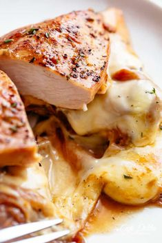 French Onion Stuffed Chicken Casserole with caramelized onions and glorious melted cheese makes a perfect weeknight or weekend dinner. Best Chicken Recipes, Crockpot Recipes, Cooking Recipes, Chicken Receipe, Skillet Recipes, Spicy Recipes, Easy Cooking, Casserole Recipes, Yummy Recipes