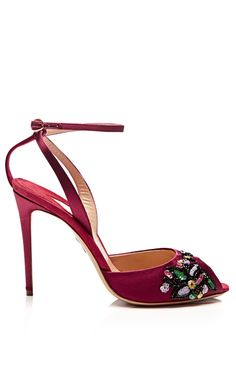 M'O Exclusive: Europeaus Satin Embroidered Ankle-Strap Stilettos by Paul Andrew | cynthia reccord