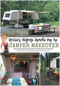 Karrie's Apache Pop Up Camper is a beautiful medley of vintage and modern.  She really stayed true to the original decor, while adding her personal touches.