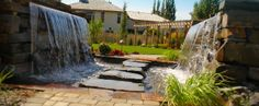 Salisbury Landscaping offers professional landscape design and build services within Sherwood Park, Edmonton and the surrounding area. Landscape Architecture, Landscape Design, Outdoor Spaces, Outdoor Living, Sherwood Park, Environmental Design, Salisbury, Water Features, Waterfall