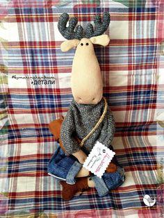 Купить Стильный лось - лось, тильда лось, модный подарок, стильный, волшебная игрушка, хлопок