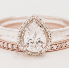 This stunning pear shaped halo ring is a show stopper. A nicely proportioned pear shaped stone is surrounded by a shimmering genuine diamond halo. This gorgeous twist on a classic engagement ring is a popular favorite.  ► N O T E: …………………………………. Wedding band shown in photos is sold separately here: https://www.etsy.com/listing/251311135/wedding-band-diamond-wedding-band-custom?ref=shop_home_active_2  ► I T E M ∙ D E T A I L S : …………………………………. • Listing is for one (1) ring • 14k Solid Yellow…