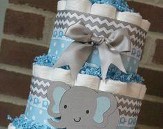Elefante azul gris nivel 3 pañal pastel por LanasDiaperCakeShop