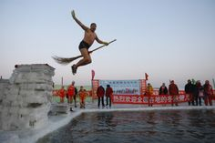 winter swimming event, China