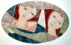 """""""Two Figures Oval Red Blue"""" by Ruth Faktor - The Ceramic Relief Tiles of Israeli. Handmade Ceramic, Ceramic Art, Terracotta, Art Dolls, Dyi, Red And Blue, Tiles, Commercial, Pottery"""