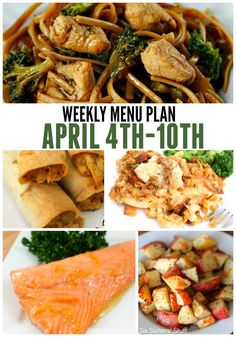 Weekly Menu Plan April 4-10 from SixSistersStuff.com | This week's menu plan are family favorites that are easy summer/spring meals that your family is sure to love!