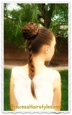 Princess Leia Spiral Braid Bun (Costumes) from Princess Hairstyles Little Girl Hairstyles, Pretty Hairstyles, Braided Hairstyles, Bun Hairstyle, Hairstyle Tutorials, Holiday Hairstyles, Braided Updo, Summer Hairstyles, Cornrows