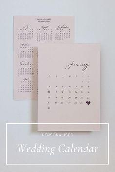 Countdown to your big day with a personalised wedding calendar! Minimalist Wedding Reception, Minimal Wedding, Elegant Wedding, Stationery Design, Wedding Stationery, Blush Wedding Palette, Pastel Wedding Colors, Personalised Calendar, Wedding Calendar