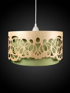 Min-Jon is a company by Nadine Fliegen and Andrea Steckner, they produce really interesting lampshades that have been laser cut to get the final design. They use a cloth lampshade for the inner part and then use oak for the outer park that they laser their designs on.