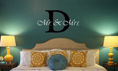 Mr. & Mrs. with Initial - Vinyl Lettering