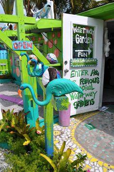 Entrance into the Lovegrove Gallery & Gardens, Matlacha, Fla.