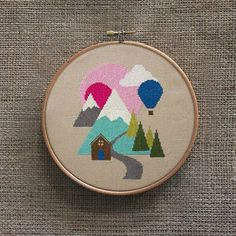 Hillscape Cross Stitch Pattern Digital Format PDF by Stitchrovia, £3.50