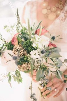 blue thistle and calla lily #bouquet   Jordan Maunder Photography on The Lovely Find