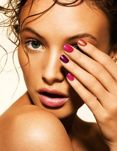 bright color nails with tan