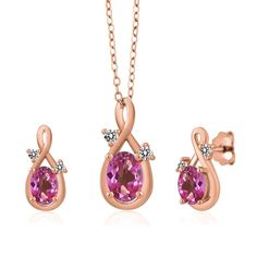 1.90 Ct Oval Pink Mystic Topaz 18K Rose Gold Pendant Earrings Set >>> See this great product. (This is an affiliate link and I receive a commission for the sales)