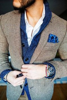Textured jacket with a shirt and chunky cardigan looks great teamed with a pocket hanky to add some more interest to the outfit