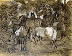 Charles Frederick Tunncliffe (1901-1979) - A Mixed Group of Ponies