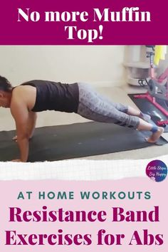 The best beginner band exercises for your core for women. Use these resistance band exercises for strengthen and tone your stomach and abs. This workout is perfect for weight loss and getting rid of that muffin top! Create that flat belly at home with a mini loop resistance band. #resistancebandworkouts #abworkoutsforbeginners
