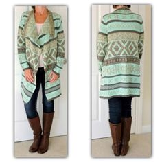 """✳️ SALE ✳️ HP cardi sz  Large Beautiful open front cardigan  Small  0-Medium  Large  AMAZING quality  NWOT  Size SMALL  bust up to 38""""  Size MEDIUM bust up to 40""""  Size LARGE  Bust up to 42    Length from shoulder down 34"""" Sleeve  length shoulder seam down 26  Open front  Hues of mint beige brown  100% acrylic.  BUNDLE DISCOUNTS DO NOT APPLY TO SALE ITEMS. Price is firm Boutique Sweaters Cardigans"""