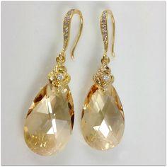 Gold Teardrop Bridal Earrings Swarovski Crystal Golden Shadow Earrings Hypoallergenic Yellow Gold Bridesmaid Gift Ready to Ship. $34.99, via Etsy.