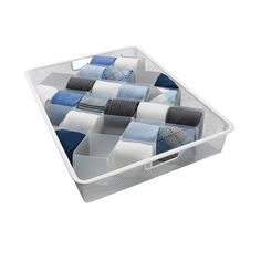 """32-Compartment Drawer Organizer -- I bought an item similar to this at B,B & Beyond, and I've loved my sock/bootie drawer ever since. Mine is a glossy nice cardboard, but because of how it's designed it can squish in and out a bit [like an accordion] to accommodate some variety of drawer sizes. Fits my 36"""" wide x 24"""" deep x 4.5"""" high drawer [exterior dimensions]; wouldn't recommend for a tall drawer; lose too much vertical space."""