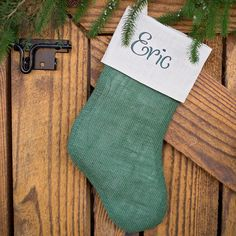 Add a little rustic cheer this Christmas with our green Burlap Custom Stocking (includes free monogramming!). Green decor ideas, Green Monday, creative gift ideas, Christmas gifts, Christmas presents, Secret Santa gift ideas, unique gift ideas, best gift ideas. #GiftCreativity