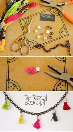 Fun DIY Jewelry Ideas | Cool Homemade Jewelry Tutorials for Adults and Teens | Awesome Bracelets, Necklaces, Earrings and Accessories You Can Make At Home | Tiny Tassel Bracelet | http://diyprojectsforteens.com/fun-diy-jewelry-ideas-for-teens