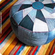 Denim Pouf DIY- great way to upcycle old clothes! Should make for Fin