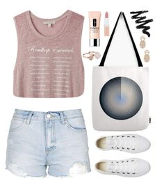 """OOTD - Dusty Pink"" by by-jwp ❤ liked on Polyvore featuring Express, Topshop, Converse, Sole Society, Rimmel, Clinique and Michael Kors"