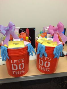 Dad-chelor party gift - for soon to be dads, new dad gift - Home Depot bucket and gift cards along with Johnson & Johnson baby products. Don't forget ear plugs, tongs, and gloves for those messy baby moments!