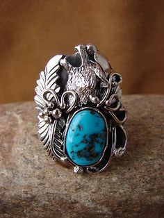 Navajo Indian Hand Stamped Sterling Silver & Turquoise Wolf Ring