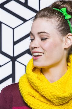 Yellow scarf and headband with bow tie. By Veritas.