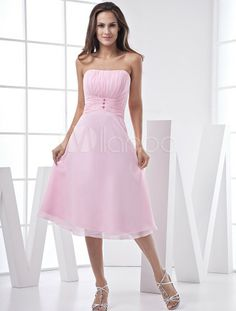Pink Lovely A-line Strapless Chiffon Satin Prom Gown/Homecoming Dress - Milanoo.com