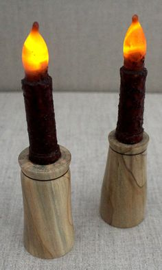 Pair of magnolia candleholders and flameless candle: Woodturned Spalted Southern Magnolia Candleholders, Candlestick Holders, Candlesticks, Magnolia, Southern, Unique Jewelry, Handmade Gifts, Vintage, Etsy