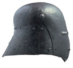 A visored sallet, German style, circa 1500. Russet steel, broad skull of one piece; rough from the hammer, studded with lining rivets, fitted with neck-guard of three fluted lames, pivoted large visor slightly convex over the front; pierced with slotted breathes and slotted sights all with embossed flanged edges, closed by a spring-catch on the right. H 26.3 cm, L 30 cm, W 24.4 cm, Wt 2.8kg. For survey of the type NORMAN, AVB, Wallace Collection Ca. European Arms and Armour Suppl. 1986 No…